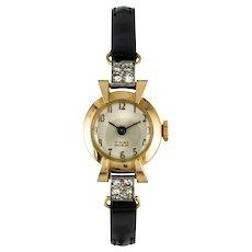 French 1950s Diamonds 18 Karat Yellow Gold Women Watch