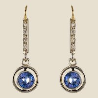 French 1920s 1.16 Carat Sapphire Diamonds 18 Karat Yellow Gold Earrings
