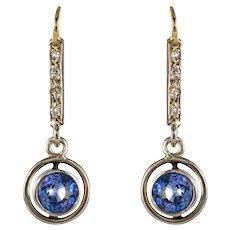 French 1920s 1.16 Carat Sapphire Diamonds 18 Karat Yellow Gold Earrings