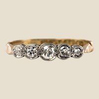 20th Century 5 Diamonds 18 Karat Yellow Gold Platinum Garter Ring