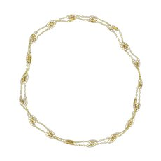 French 1920s 18 Karats Yellow Gold Spindle Link Chain Necklace