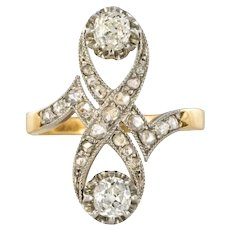French 1900s Platinium and 18 Karats Yellow Gold Diamond Ring