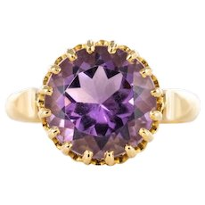 1900s French 18 Karats Yellow Gold Amethyst Ring