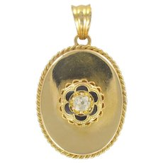 French 19th century Diamond and Black Enamel Pendant Necklace 18 Karats Yellow Gold