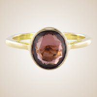 Solitaire Rhodolite Garnet Ring 18 Karats Yellow Gold