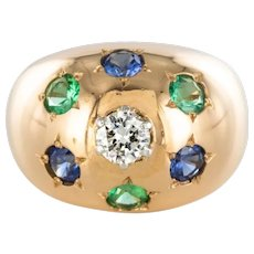 1950s 18 Karats Rose Gold Emerald Sapphire Diamond Constellation Dome Ring