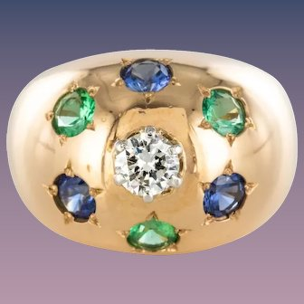 1950s 18 Karats Rose Gold Emerald Sapphire Diamond Constellation Dome Ring