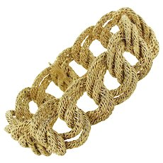 1960s French Wide 18 Karats Yellow Gold Braid Link Bracelet