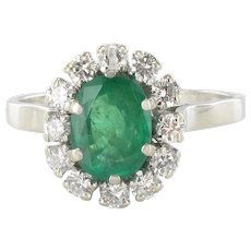 French Retro 1960s Emerald Diamond White Gold Pompadour Engagement Ring