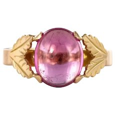1960s Pink Tourmaline 18K Yellow Gold Leaves retro Ring
