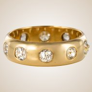 1 Carat Diamond Yellow Gold Domed Band Ring