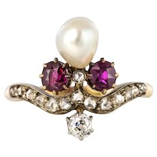 French Napoleon III Natural Pearl Ruby Diamond Duchess Ring 18 Karats Yellow Gold