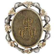 French 19th Century Gold Silver Hair Memory Brooch 18 Karats gold yellow