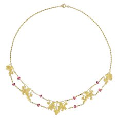 French 1950s 18 Karats Yellow Gold Pink Spinel Beads Drapery Necklace