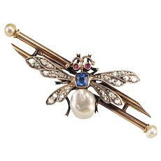 19th Century French Natural Pearl Sapphire Diamond Ruby Insect Brooch 18 Karats Rose Gold