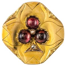 French Napoleon III Garnet Diamond Natural Pearl 18 Karats Yellow Gold Clover Brooch