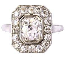 Art Deco French 2.60 Karats Diamond Platinum Ring