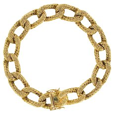 French 1960s Vintage 18 Karats Yellow Gold Chiselled Chain Bracelet