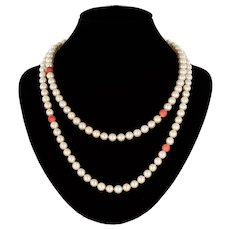 1960s Cultured Pearls Coral Pearls Long Necklace