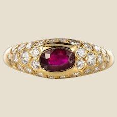 Modern Ruby Diamonds 18 Karat Yellow Gold Bangle Ring