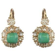 19th Century 2.20 Karat Diamond Natural Turquoise Drop Earrings 14 Karats Yellow Gold