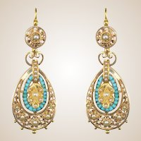 French Napoleon III Turquoise Natural Pearl 18 Karats Rose and Yellow Gold Dangle Earrings