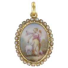 19th Century Natural Pearl Miniature Porcelain Medallion Pendant Necklace