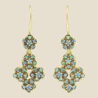 French 1900s 18 Karats Yellow Gold  and Opal Dangle Earrings
