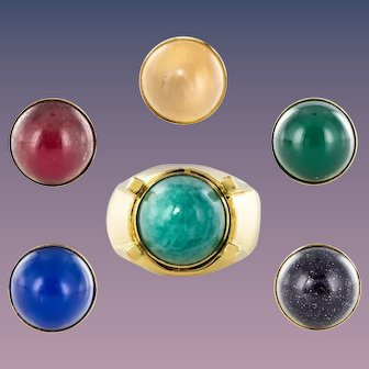 1970s Interchangeable Stones Yellow Gold Ring