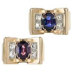 French 1940s Mellerio dits Meller Natural Saphir Color Change Diamond Tank Ring