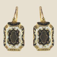 French Napoleon 3rd Enamelled Gold Drop Earrings