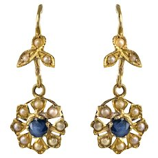 1900s French Belle Époque Sapphire Natural Pearl Earrings