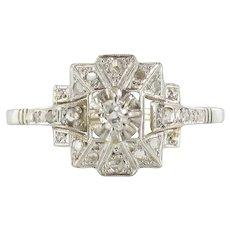 French Art Deco Platinum and White Gold Diamond Ring