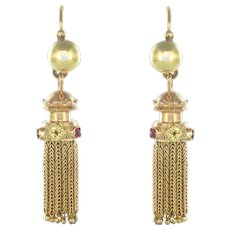 Napoleon 3 French Yellow Gold Ruby Pompom Dangle Earrings