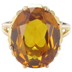 French Retro 1960s 8.90 carat Citrine 18 Karats Yellow Gold Cocktail Ring