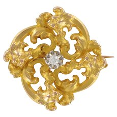 Wiese Spirit French Art Nouveau Yellow Gold Diamond Brooch
