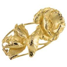 Signed Miault French Art Nouveau 18 Karat Yellow Gold Brooch