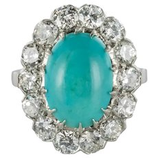 French 1960s Cabochon Turquoise Diamond White Gold and Platinum Cluster Ring
