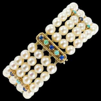 1960s Akoya Cultured Peal Lapis Lazuli Turquoise Beaded Bracelet
