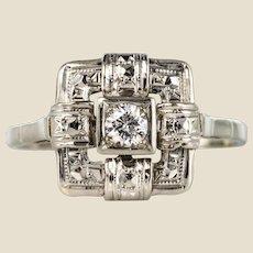 1930s Art Deco 18 Karat White Gold 0.12 Carat Diamond Ring