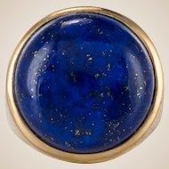 1950s Vintage Lapis Lazuli Chiseled 18 Karat Gold Yellow Signet Ring