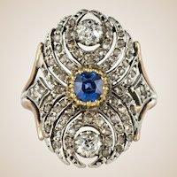 French 19th Century 18 Karat Yellow Gold Silver Sapphire Diamond Ring