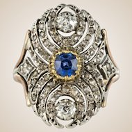 French 19th Century 18 Karat Yellow Gold Silver Sapphire Diamond Ring