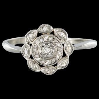 1900s Antique Diamond White Gold Platinum Flower Shape Ring