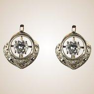 French 1930s Art Deco E.VVS Diamonds Stud Earrings