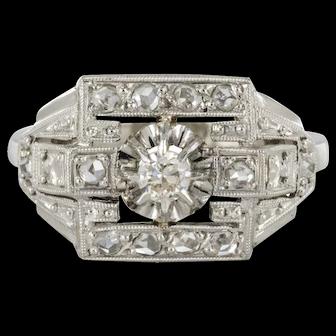 French 1925 Platinum 18 Karat White Gold Diamond Art Deco Ring