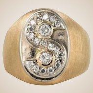 1950s S Shape Diamond Retro Signet Ring