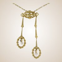 """French """"Belle Époque"""" Natural Pearl and Yellow Gold Pendant Necklace"""