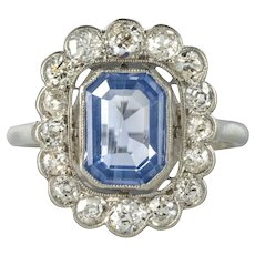 French 1925s Art Deco Sapphire Diamond Platinum Cluster Ring