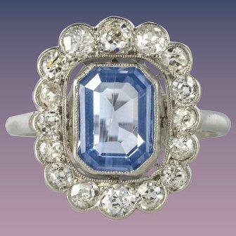 French 1925s Art Deco Sapphire Diamond Platinum Cluster Ring